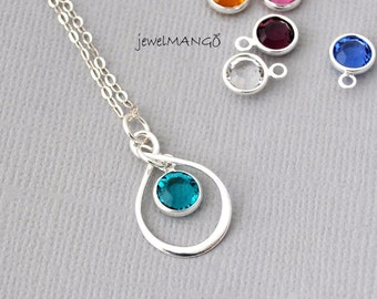 SALE - Infinity Necklaces in Sterling Silver with Personalized Birthstones, infinity jewelry, eternity, Bridesmaid Gift, crystal, bridesmaid
