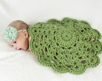 Green Grass Crochet Doily Newborn Photography Prop Crochet Flower Doily Photo Prop Newborn Baby Girl Baby Blanket Green Baby Blanket