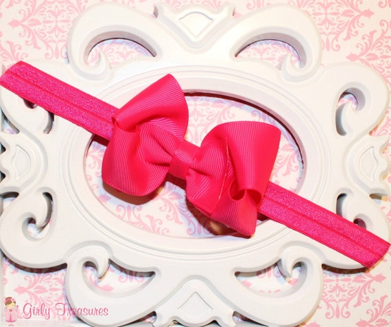Shocking Pink Boutique Style Grosgrain Hair Bow Headband. Baby ...