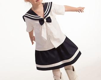 Girl sailor shirt skirt baby girl beach wedding flower girl dress first birthday sailor outfit mariner nautical photo prop linen clothes