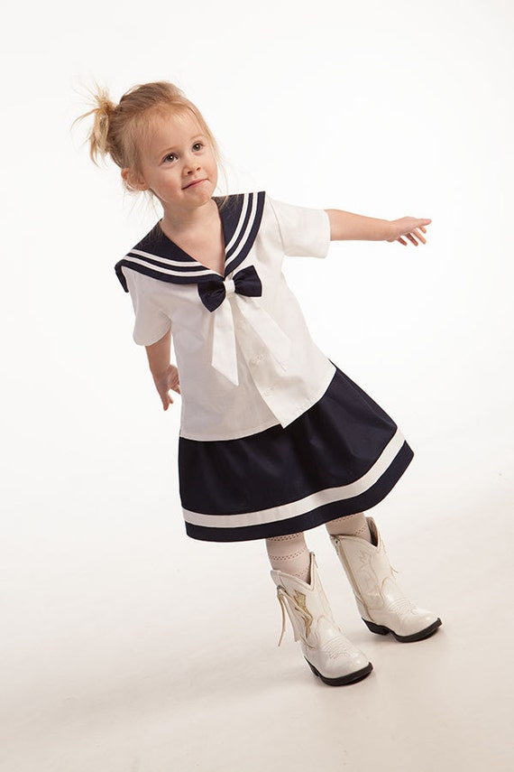Girl Sailor Shirt Skirt Baby Girl Beach Wedding Flower Girl
