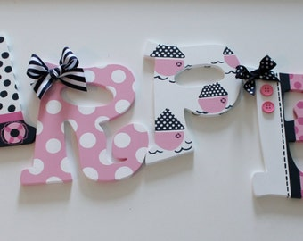 Hand Painted Personalized Wooden Letters Pink, Navy, and White Nautical Theme for Nursery, Bedroom, or Party