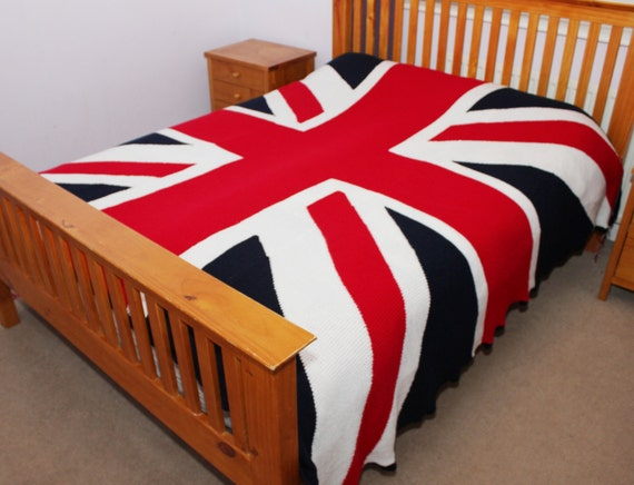King size knitted union jack blanket union jack afghan throw