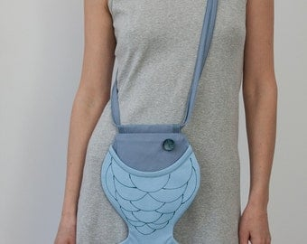 Fish Purse Light Blue with Grey Pastel Quilted Bag Small Bag Nautical Boho Bag Hipster Style Ocean Sea Beach Gift For Kids Gift For Her