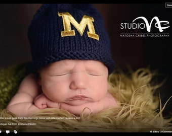 Uof M Newborn Hat,University of Michigan Baby Hat,Newborn Photo Prop, Baby Boy Hat, Baby Girl, Baby Boy Knit Hat, Baby Girl Hat, U Of M Hat