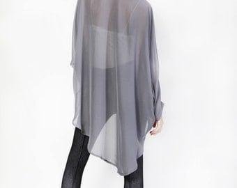 Grey oversize Blouse, Buttoned down Shirt, loose fit top, long sleeve winter shirt, light top, minimal shirt, casual, collar top, semi sheer