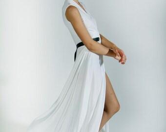 Cream Wedding Dress, white evening dress, minimal style, deep cleavage, slit skirt, maxi dress, bridesmaid dress, summer gown, sleeveless