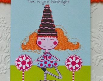 "Yoga Birthday Card,yoga card,birthday card,greeting card, birthday greeting card,5"" x 7"""