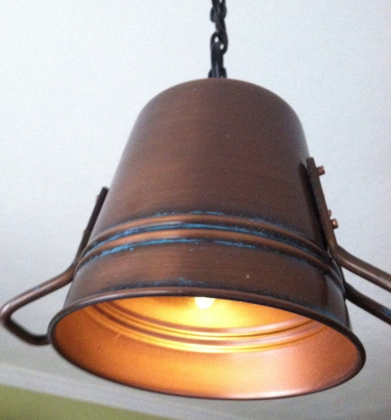 Items Similar To Rustic Light Pendant Lighting Pulley On Etsy: Rustic Copper Pail Pendant Light By Cre8iveconcrete On Etsy