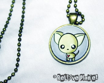 "Happy Chihuahua 1"" Pendant Necklace - or 2 for 20 - cute kawaii Positive - ReLove Plan.et"