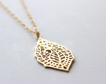 Gold Necklace - Long Necklace - Matte Gold Filigree Pendant Necklace on Matte Gold Chain