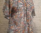 70s Peasant Blouse - Floral Cotton