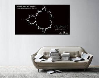 Science art physics Max Plank's inspiring quote with Mandelbrot fractal large vinyl decal for your classroom scientific decor (ID: 121018)