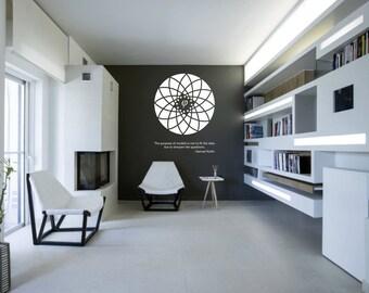 Science art Samuel Karlin quote & Fibonacci flower vinyl wall decal - removable wallpaper (ID: 121040)