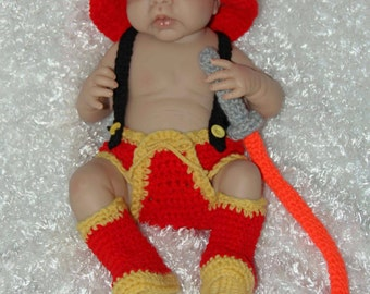 Baby Fireman Outfit with Fire Hose