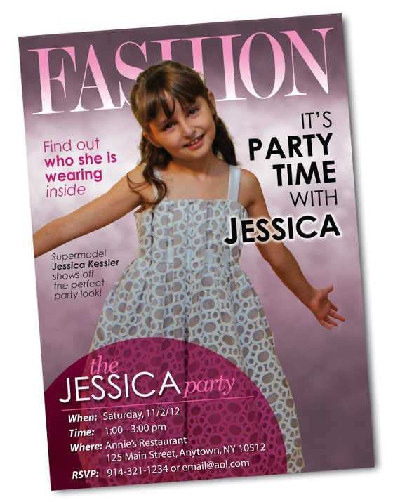 Fashion Magazine Cover Personalized Birthday Invitation – Magazine Cover Birthday Invitations