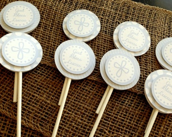 Baptism Cupcake Toppers, First Communion Cupcake Sticks, Christening