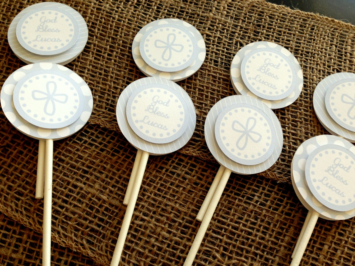 Cupcake Decorating Ideas For First Communion : Baptism Cupcake Toppers First Communion Cupcake Sticks