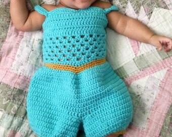 crochet Disney's 'Jasmine' inspired princess jumper with slippers- size newborn-12months