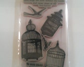 Vintage Birdcages Rubber Cling Stamps Set - New TPC Studio