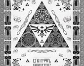 Legend of Zelda - The Triforce Crest of Hyrule Line Art - signed museum quality giclée fine art print