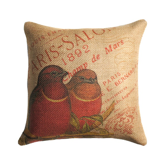 Burlap Pillow of Red Birds, French Throw Pillow, Cushion, Paris