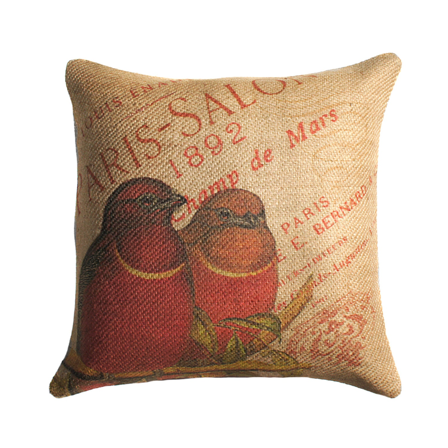 Throw Pillow In French : Burlap Pillow of Red Birds French Throw Pillow Cushion