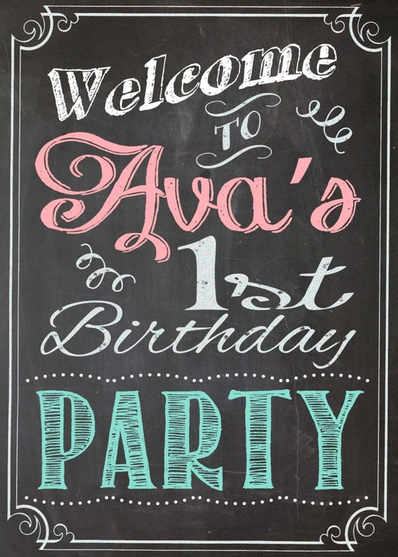 Shabby chic vintage chalkboard welcome sign birthday party for Chalkboard sign font
