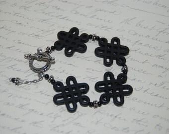 Style Black Carved Knot Ceramic  Bracelet