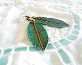 Woodland Patina Teal Leaf Earrings - Boho Spring Nature Inspired Jewelry - Turquoise & Verdigris Brass Long Leaves - Made to Order