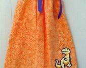 dinosaur pillowcase dress light orange pale yellow dino applique size 4