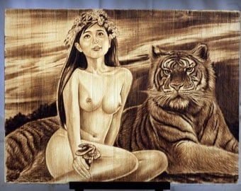 Tiger and Virgin, original woodburned, nudity, naked, pyrography