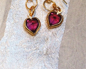 Upcycled Vintage Earrings Ruby Swarovski Heart Crystals in Gold