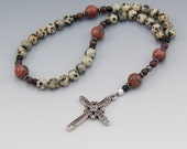 Anglican Rosary - Christian Prayer Beads - Unique Dalmatian Jasper - Firefighter Gifts - Item # 753