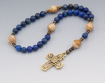 Protestant Prayer Beads - Blue Lapis Lazuli - Anglican Rosary - Christian Gifts - Item # 756