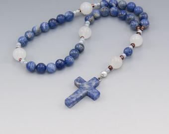 Anglican Rosary - Sodalite with Quartz - Blue & White Gemstones - Christian Prayer Beads - Small Rosary - Item # 743
