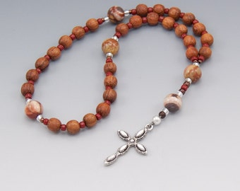 Christian Rosary -  Rhyolite & Natural Wood - Anglican Prayer Beads - Rosaries For Men - Gifts For Him - Item # 761