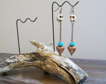 Total Eclipse of the Heart. Dark Boho Skulls and Heart Earrings