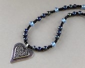 Silver Cutout Heart Blue Beaded Necklace Pendant Navy Iridescent Toggle Clasp Fashion Jewelry Free Shipping
