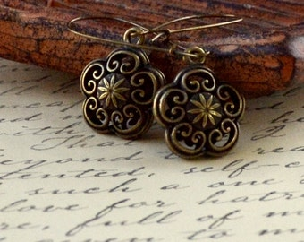 Boho Antique Bronze 3D Flower Dangle Earrings Bohemian Cutout Long Kidney Ear Wire Teen Girl Fashion Jewelry Daisy Jewellery Free Shipping