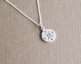 Graduation Necklace, Compass Necklace, Sterling Silver Compass Necklace, Graduation Gift, Graduate Class of 2014, Journey Necklace 18""