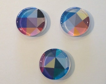 Colorful geometric round glass fridge magnets - set of 3 - blue, orange, pink