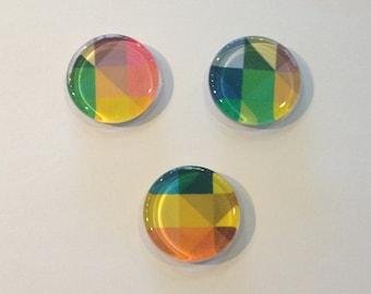 Colorful geometric round glass fridge magnets - set of 3 - green, yellow, orange