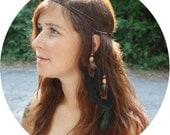 Iridescent Feather and Leather Headband, Armband, Belt, Necklace, etc - Multi-Use Versatile