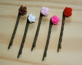 Single Antique Bronze Rose Flower Cabochon Bobby Pins Hair Accessories - Bridal Birthday Friends Gift Pack