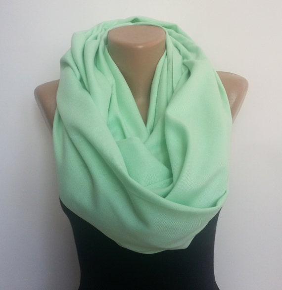 pashmina infinity scarf mint green loop scarf gift by