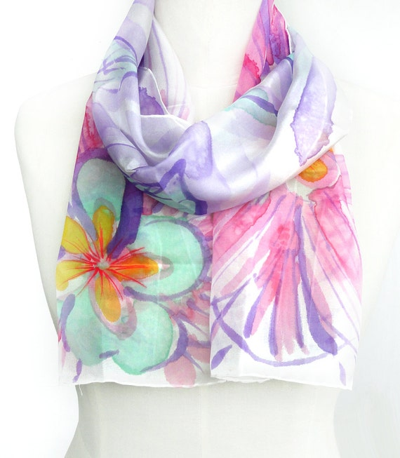 Floral Silk Scarf. Hand Painted Silk Shawl Fuchsia, Green Calcite, Purple Scarf. Multicolor Scarf. 10x60 in. (25x150 cm). Ready2Ship.