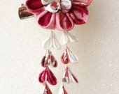 Kanzashi  Style Flower hair barrette for sd size (pre-order normal red)