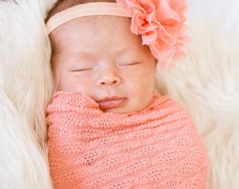 Newborn headband, Peach headband, Peach, Baby headband, Infant Headbands - Baby Girl Headbands - Baby Hair Accessories - Newborn Headbands