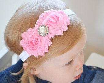 newborn baby headband peach lace flower headband newborn